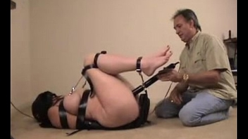 Busty babe tied leather mask cudgel forced to cum stormy bondage bdsm hard