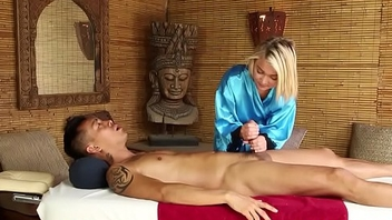 Blonde masseuse spunked