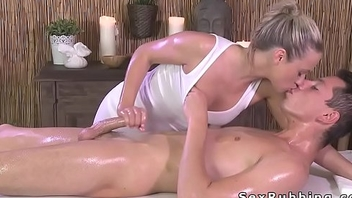 Blonde masseuse grand cock massage in oil
