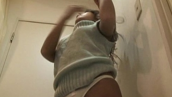 Upskirt Japanese skirt MIRANO takes off clothes at an obstacle dressing room