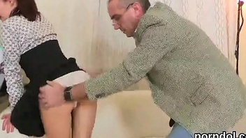 Kissable schoolgirl gets seduced and penetrated hard by her older tutor