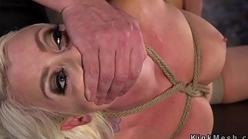 Hogtied blonde caned and cunt rubbed in dungeon